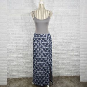 Vintage Blue & White Patterned Maxi Skirt